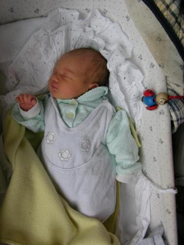 Magdalena novorozenec: Čerstvý novorozenec Magdalena, první den doma.
