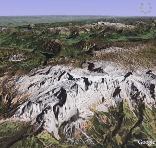 Dachstein: Pohled na Dachstein z Google Earth.