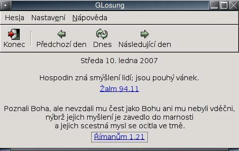 Glosung 3.0: Hesla Jednoty bratrské pro Gnome. Domácí stránka http://www.godehardt.org/losung.html.