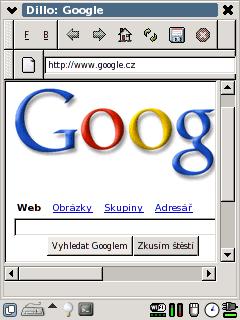 Dillo: Webový browser Dillo v prostředí GPE.