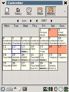 Kalendář - měsíc: Zobrazení celého měsíce v gpe-calender.