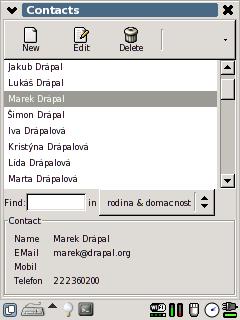 Kontakty: Pohled na kategorii v kontaktech.