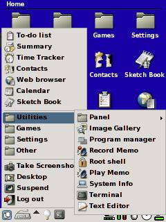 Menu GPE: Rozbalovací menu nabídky GPE.