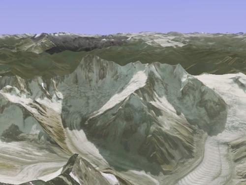 Grand Jorasses: Pohled na severní stěnu Grand Jorasses pomocí Google Earth.